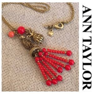 Ann Taylor Beaded Tassel Necklace Monkey Pineapple